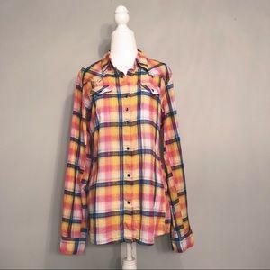 Wrangler Plaid Western Long Sleeve Blouse